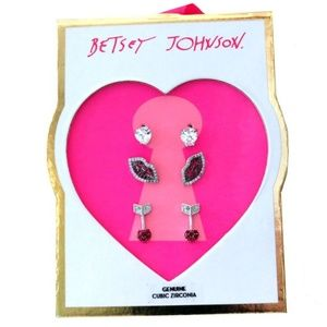Betsey Johnson Pave CZ Lips and Arrow Earrings